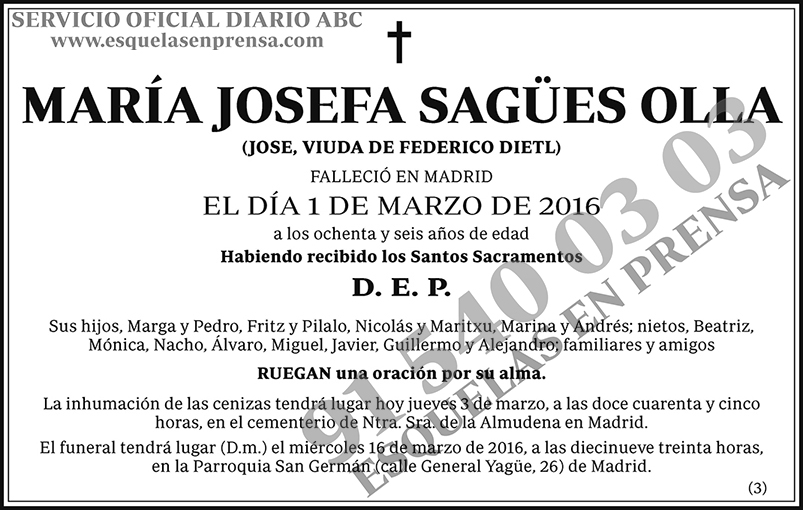 María Josefa Sagües Olla